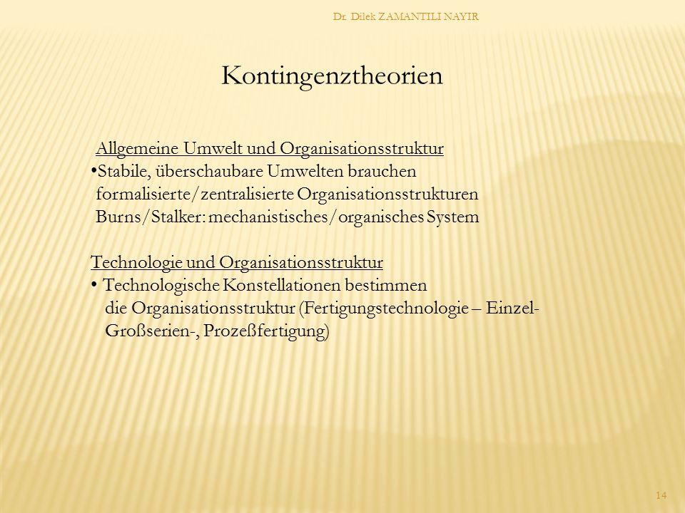 Kontingenztheorien Allgemeine Umwelt und Organisationsstruktur