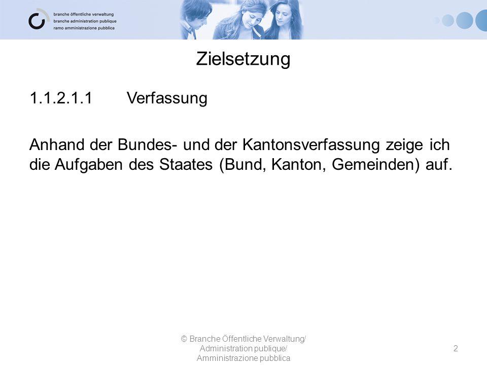 Zielsetzung 1.1.2.1.1 Verfassung Anhand der Bundes- und der Kantonsverfassung zeige ich die Aufgaben des Staates (Bund, Kanton, Gemeinden) auf.