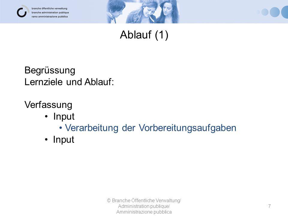 Ablauf (1) Begrüssung Lernziele und Ablauf: Verfassung Input
