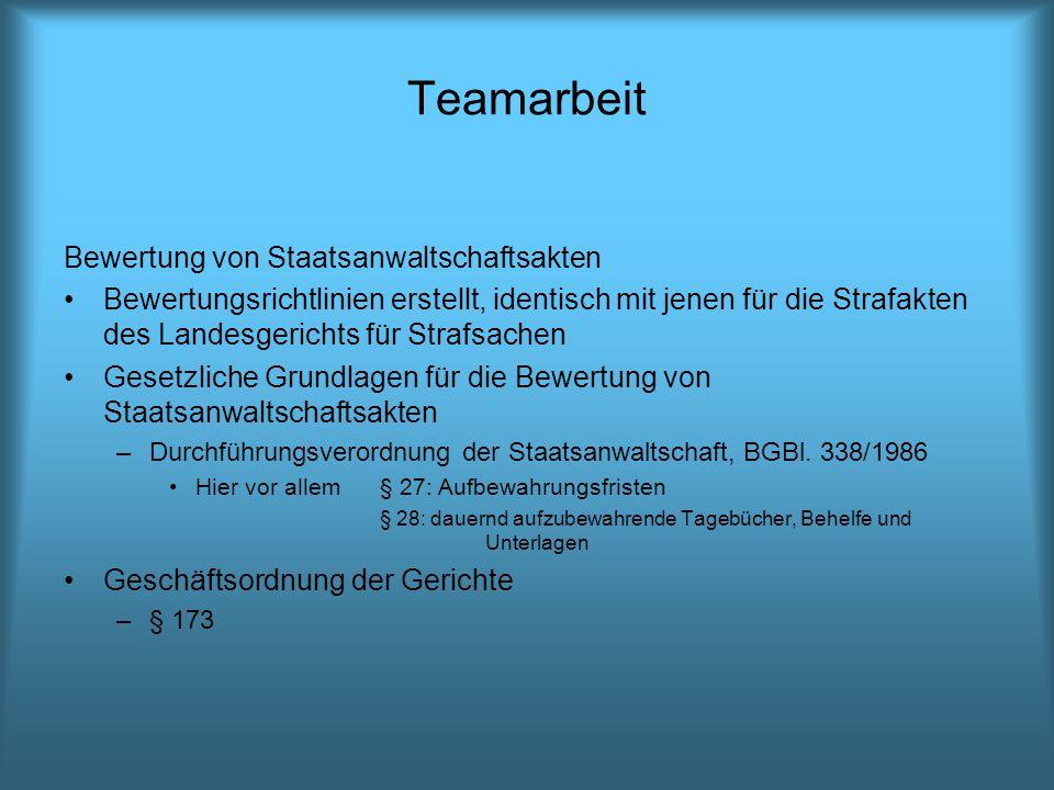 Teamarbeit Bewertung von Staatsanwaltschaftsakten