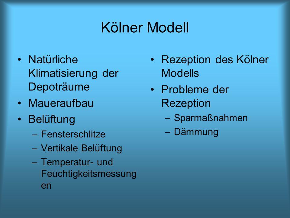 Kölner Modell Natürliche Klimatisierung der Depoträume Maueraufbau