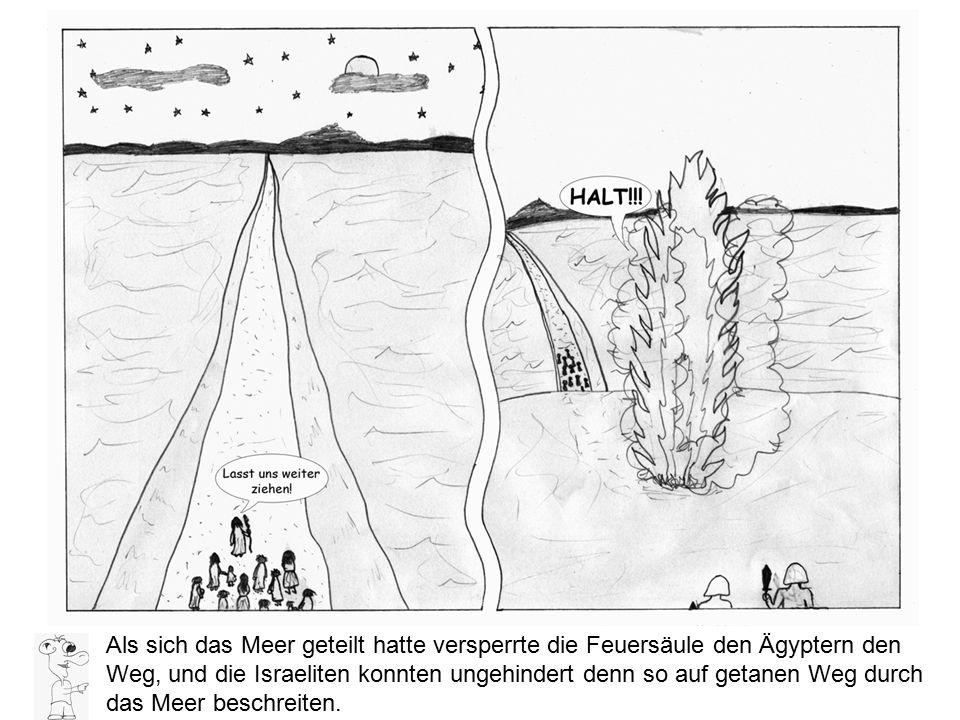 Als sich das Meer geteilt hatte versperrte die Feuersäule den Ägyptern den Weg, und die Israeliten konnten ungehindert denn so auf getanen Weg durch das Meer beschreiten.