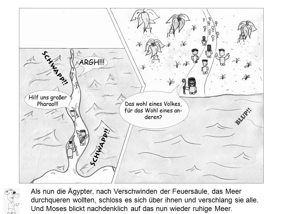 Als nun die Ägypter, nach Verschwinden der Feuersäule, das Meer durchqueren wollten, schloss es sich über ihnen und verschlang sie alle.