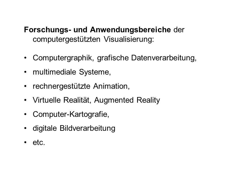 Forschungs- und Anwendungsbereiche der computergestützten Visualisierung: