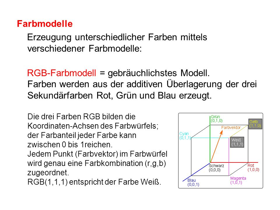 Farbmodelle Erzeugung unterschiedlicher Farben mittels verschiedener Farbmodelle:
