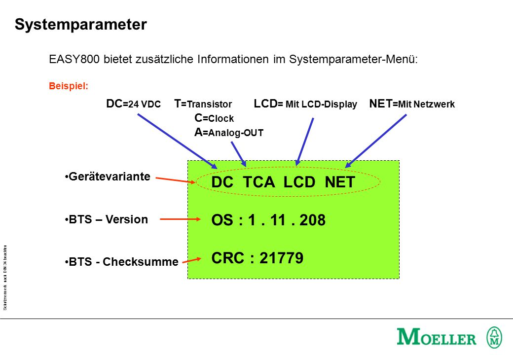Systemparameter DC TCA LCD NET OS : 1 . 11 . 208 CRC : 21779