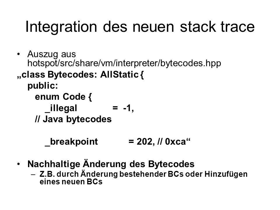 Integration des neuen stack trace