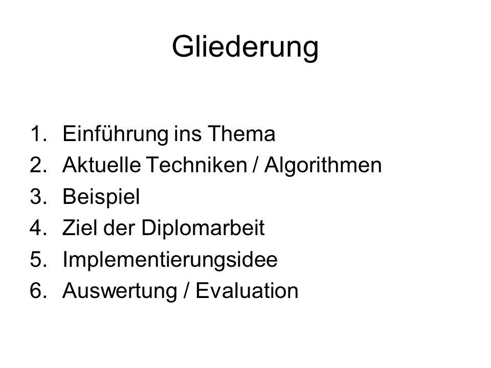 Gliederung Einführung ins Thema Aktuelle Techniken / Algorithmen