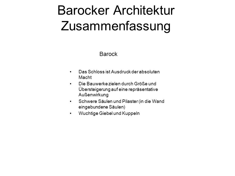 Barocker Architektur Zusammenfassung