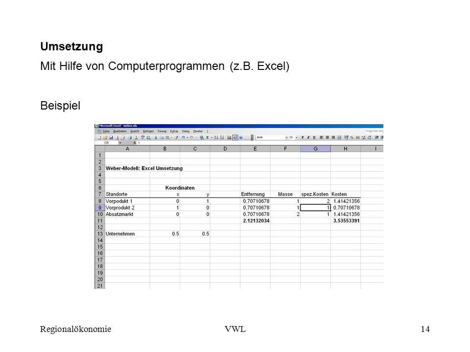 Mit Hilfe von Computerprogrammen (z.B. Excel)