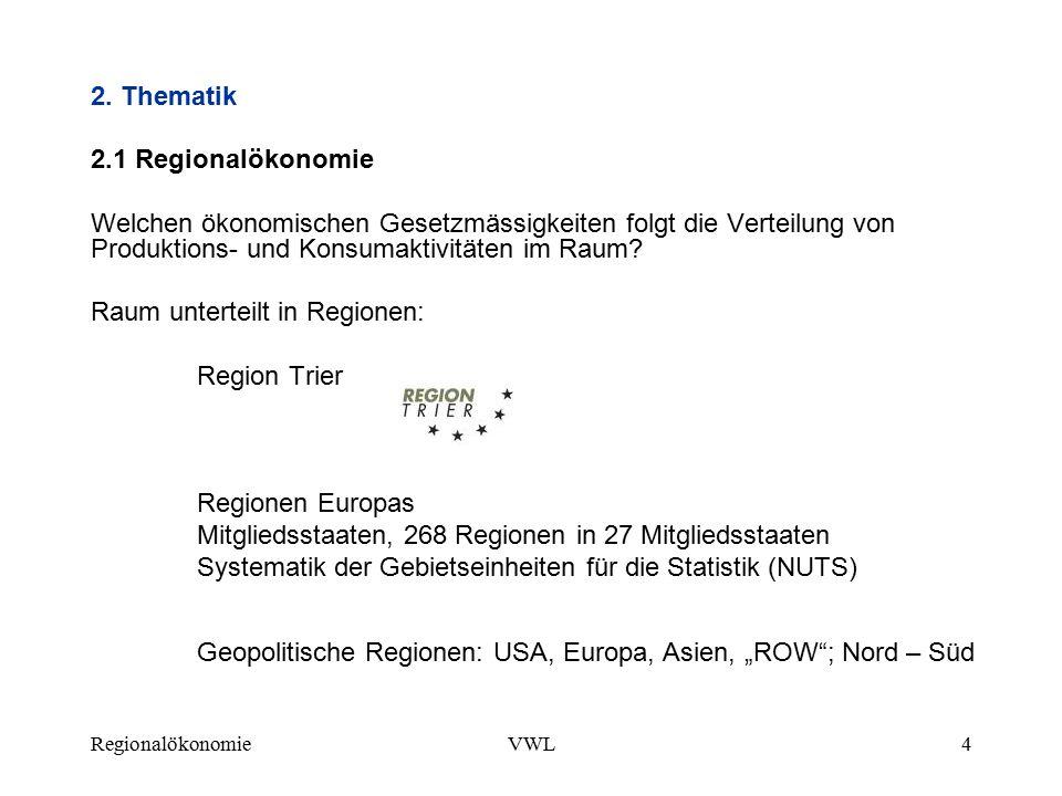 Raum unterteilt in Regionen: Region Trier