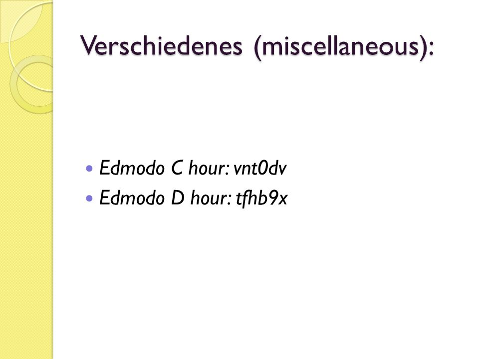 Verschiedenes (miscellaneous):