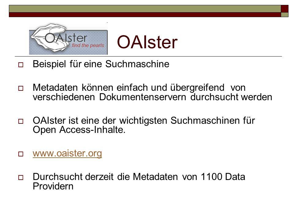 OAIster Beispiel für eine Suchmaschine