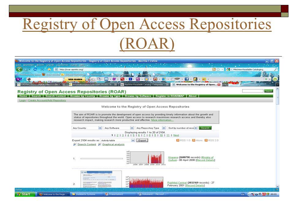 Registry of Open Access Repositories (ROAR)