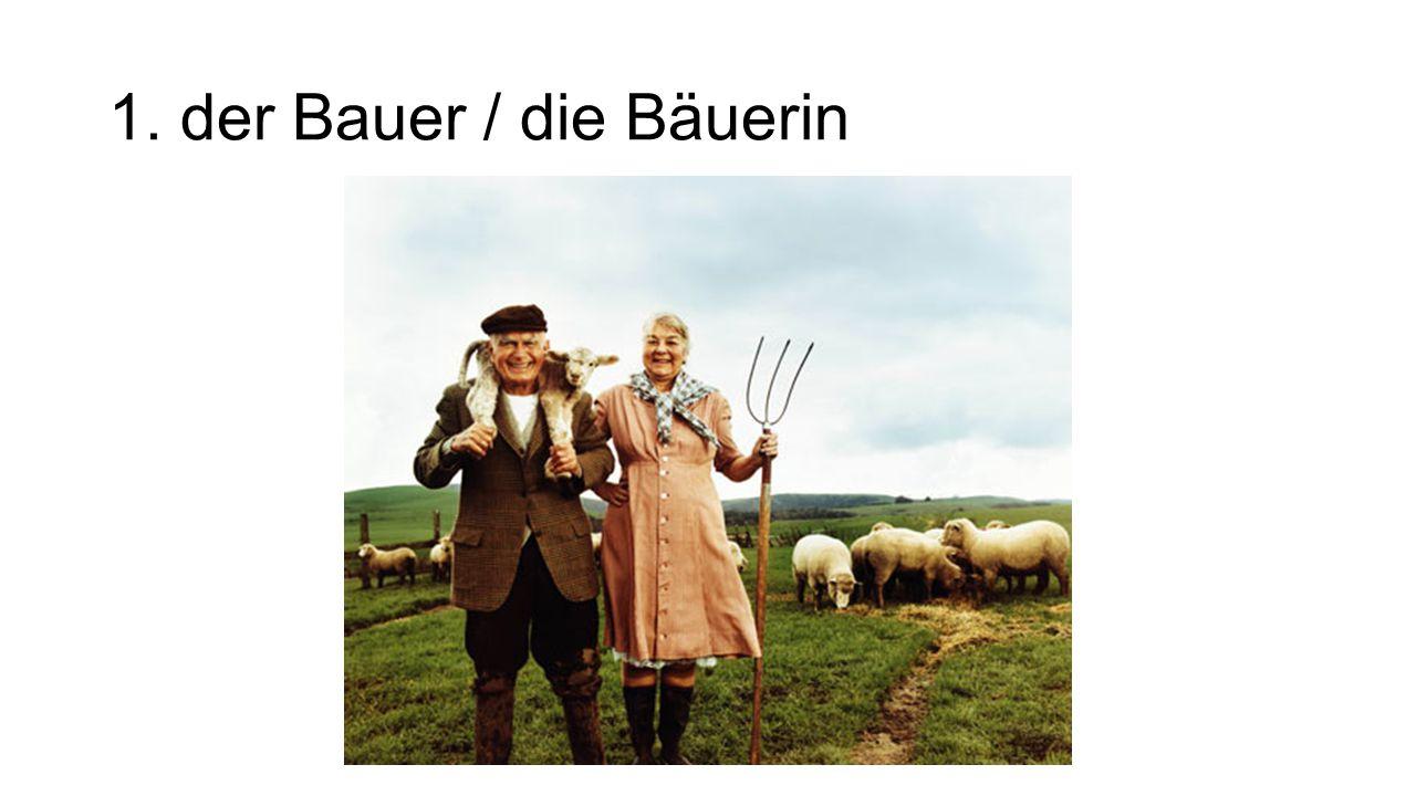 1. der Bauer / die Bäuerin The farmer (male/female)