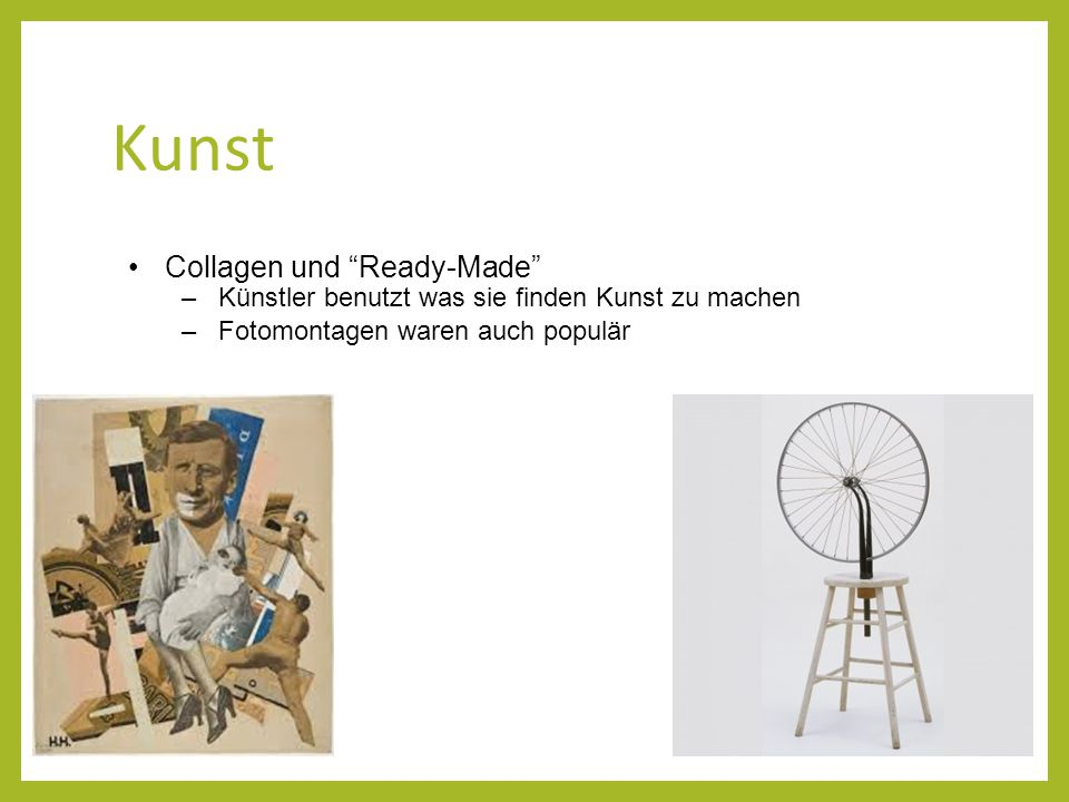 Kunst Collagen und Ready-Made