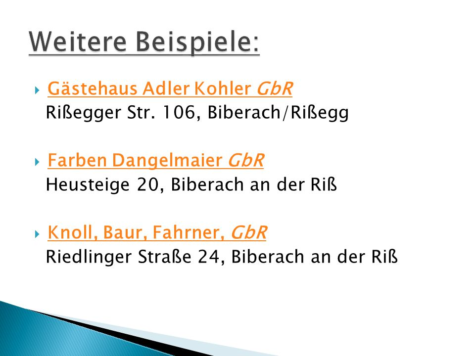 Weitere Beispiele: Gästehaus Adler Kohler GbR