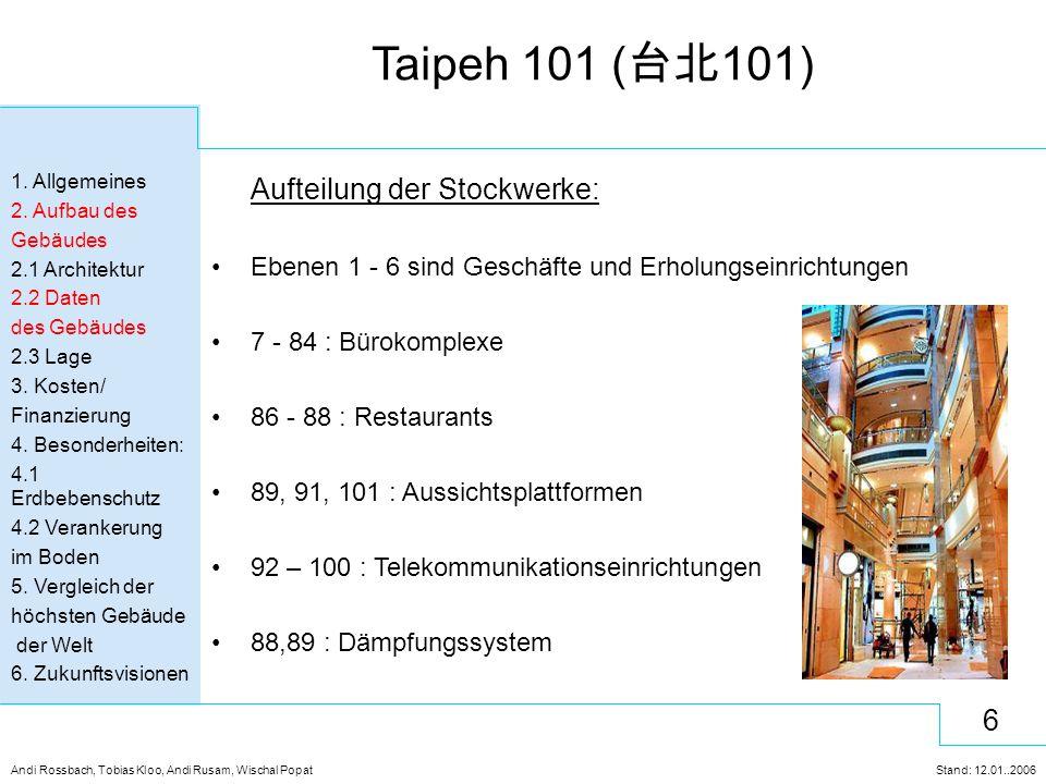 Aufteilung der Stockwerke: