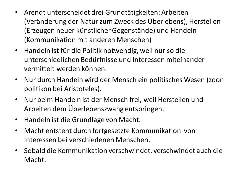Arendt unterscheidet drei Grundtätigkeiten: Arbeiten (Veränderung der Natur zum Zweck des Überlebens), Herstellen (Erzeugen neuer künstlicher Gegenstände) und Handeln (Kommunikation mit anderen Menschen)