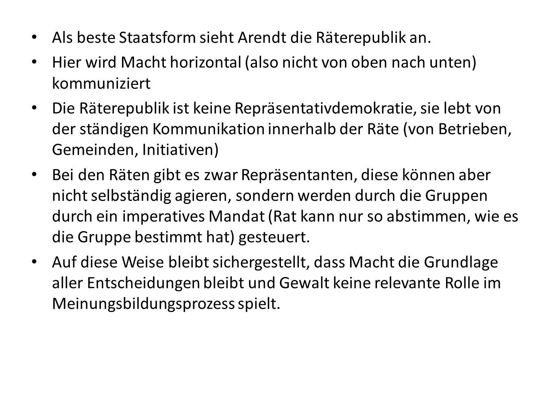 Als beste Staatsform sieht Arendt die Räterepublik an.