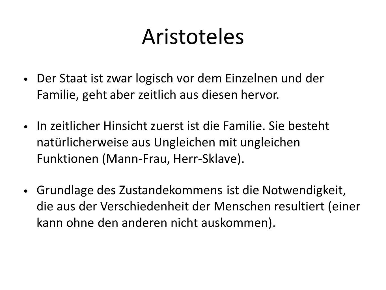 Aristoteles Der Staat ist zwar logisch vor dem Einzelnen und der Familie, geht aber zeitlich aus diesen hervor.