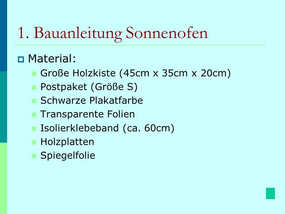 1. Bauanleitung Sonnenofen