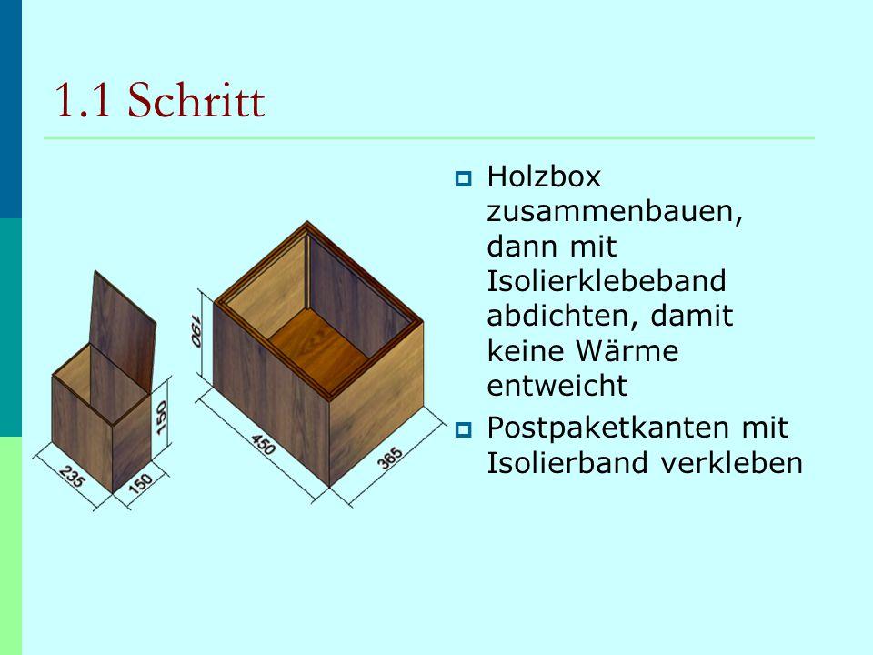 1.1 Schritt Holzbox zusammenbauen, dann mit Isolierklebeband abdichten, damit keine Wärme entweicht.