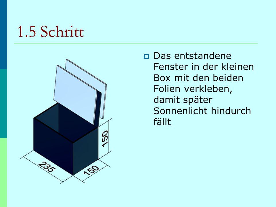 1.5 Schritt Das entstandene Fenster in der kleinen Box mit den beiden Folien verkleben, damit später Sonnenlicht hindurch fällt.
