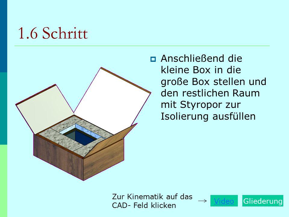 1.6 Schritt Anschließend die kleine Box in die große Box stellen und den restlichen Raum mit Styropor zur Isolierung ausfüllen.