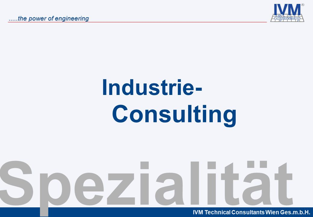 Industrie- Consulting Spezialität