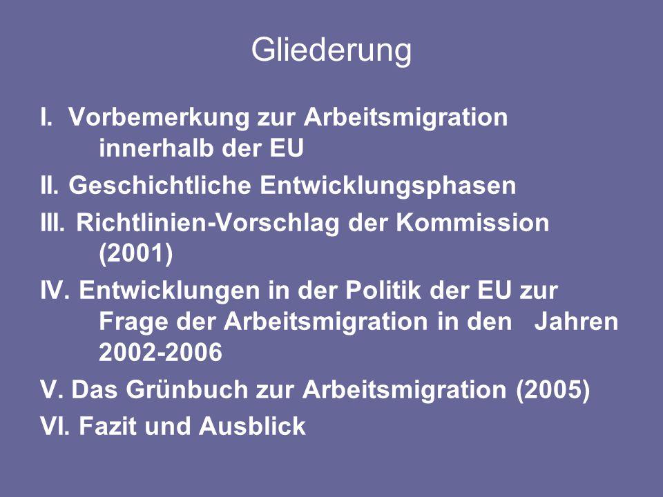 Gliederung I. Vorbemerkung zur Arbeitsmigration innerhalb der EU