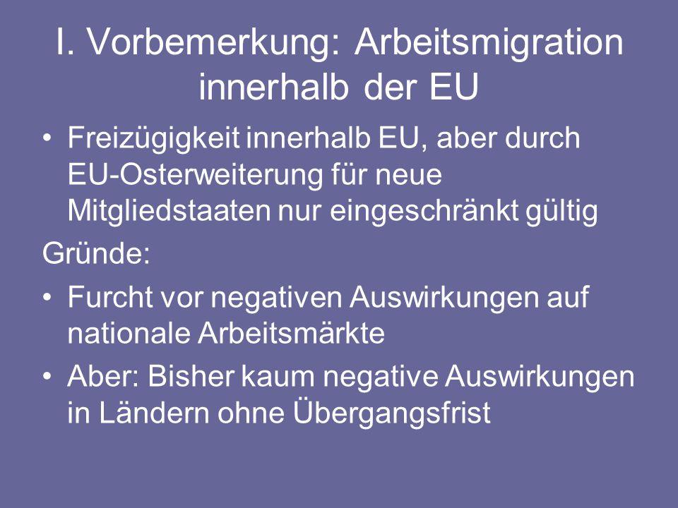 I. Vorbemerkung: Arbeitsmigration innerhalb der EU