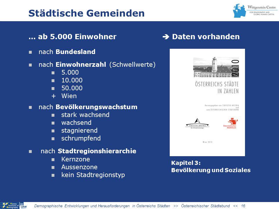 Städtische Gemeinden … ab 5.000 Einwohner  Daten vorhanden