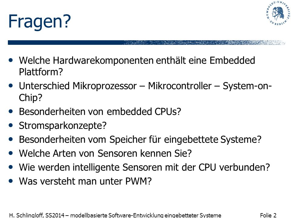 Fragen Welche Hardwarekomponenten enthält eine Embedded Plattform