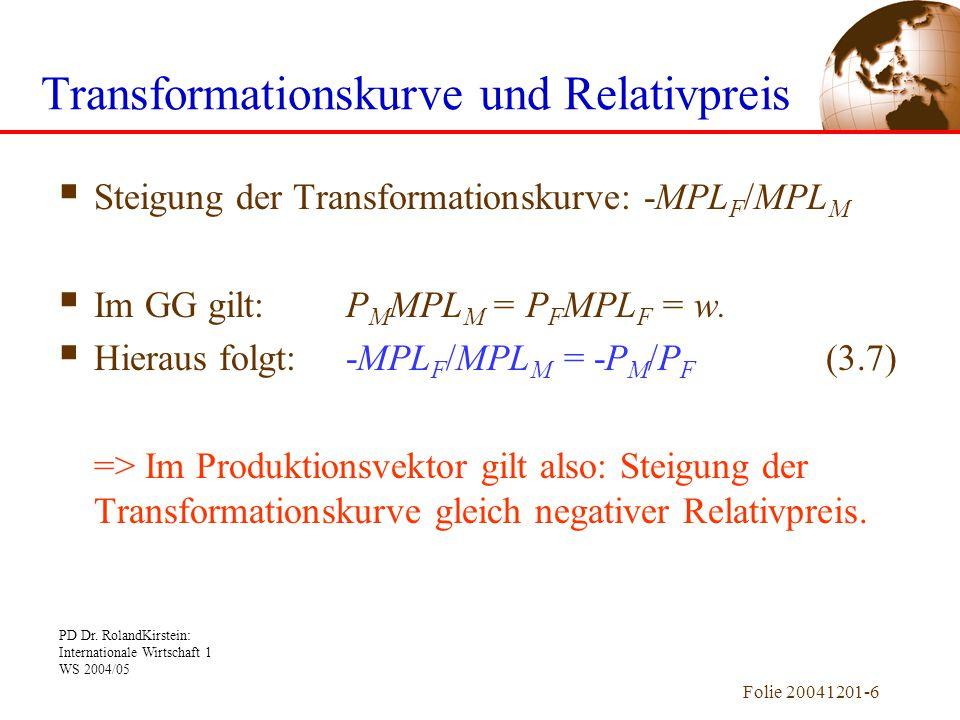 Transformationskurve und Relativpreis