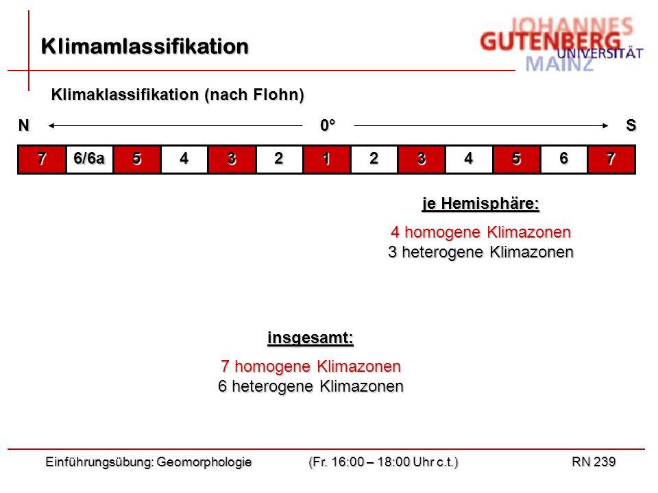 Klimamlassifikation Klimaklassifikation (nach Flohn) N S 0° 7 6/6a 5 4