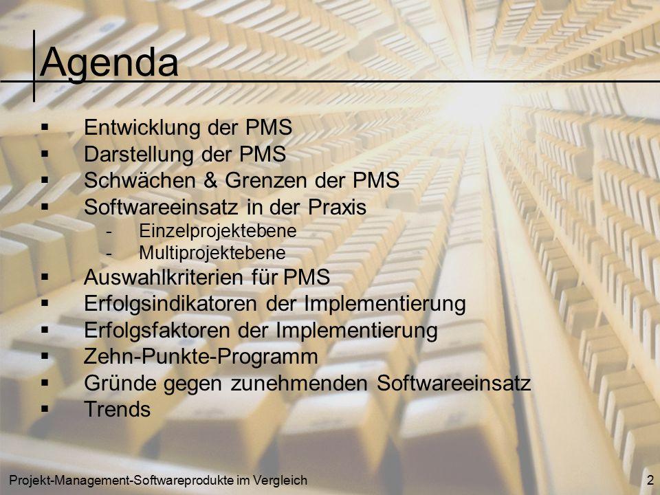 Agenda Entwicklung der PMS Darstellung der PMS