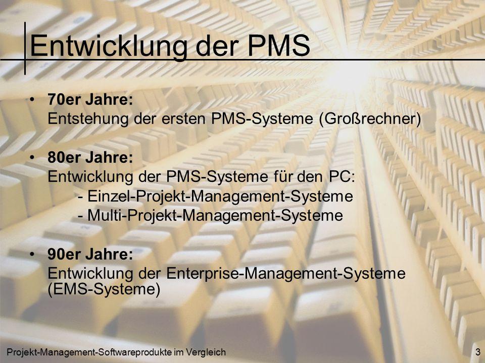Entwicklung der PMS 70er Jahre: