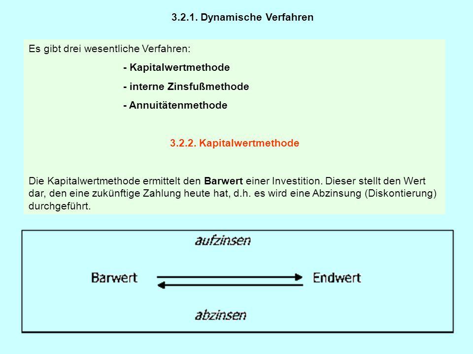 3.2.1. Dynamische Verfahren Es gibt drei wesentliche Verfahren: - Kapitalwertmethode. - interne Zinsfußmethode.
