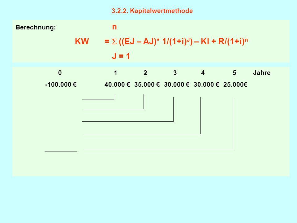 3.2.2. Kapitalwertmethode Berechnung: n. KW =  ((EJ – AJ)* 1/(1+i)J) – KI + R/(1+i)n. J = 1.