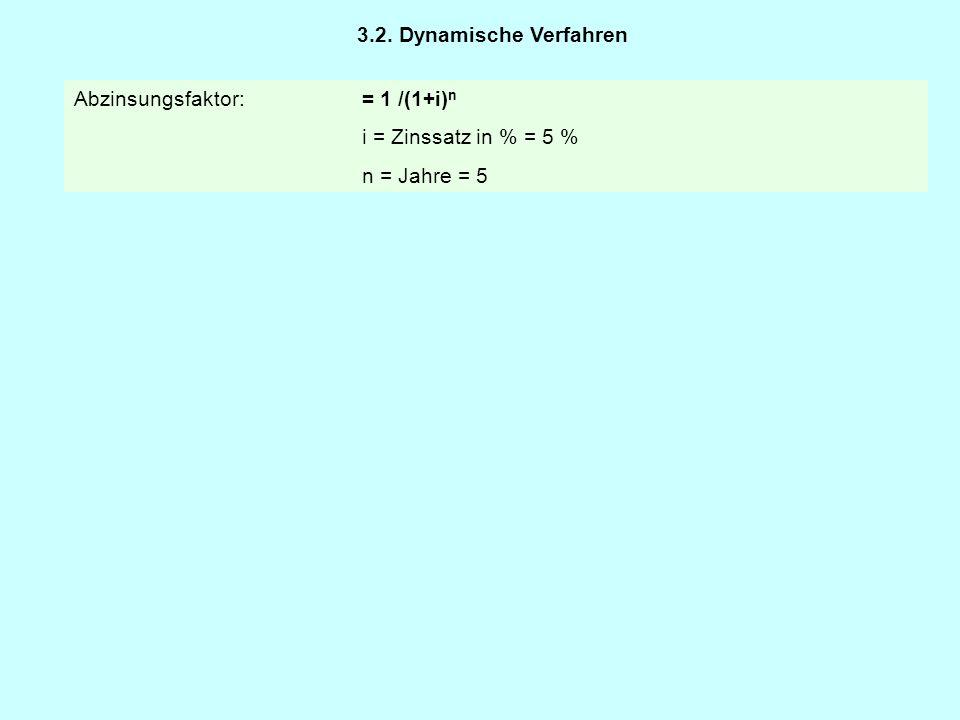 3.2. Dynamische Verfahren Abzinsungsfaktor: = 1 /(1+i)n i = Zinssatz in % = 5 % n = Jahre = 5