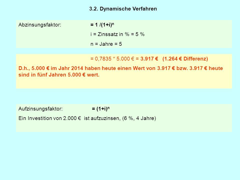 3.2. Dynamische Verfahren Abzinsungsfaktor: = 1 /(1+i)n. i = Zinssatz in % = 5 % n = Jahre = 5. = 0,7835 * 5.000 € = 3.917 € (1.264 € Differenz)