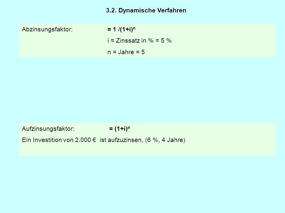 3.2. Dynamische Verfahren Abzinsungsfaktor: = 1 /(1+i)n. i = Zinssatz in % = 5 % n = Jahre = 5. Aufzinsungsfaktor: = (1+i)n.
