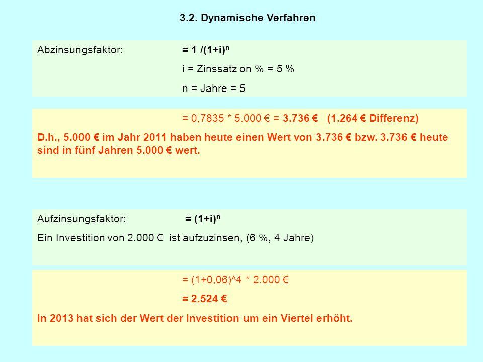 3.2. Dynamische Verfahren Abzinsungsfaktor: = 1 /(1+i)n. i = Zinssatz on % = 5 % n = Jahre = 5. = 0,7835 * 5.000 € = 3.736 € (1.264 € Differenz)