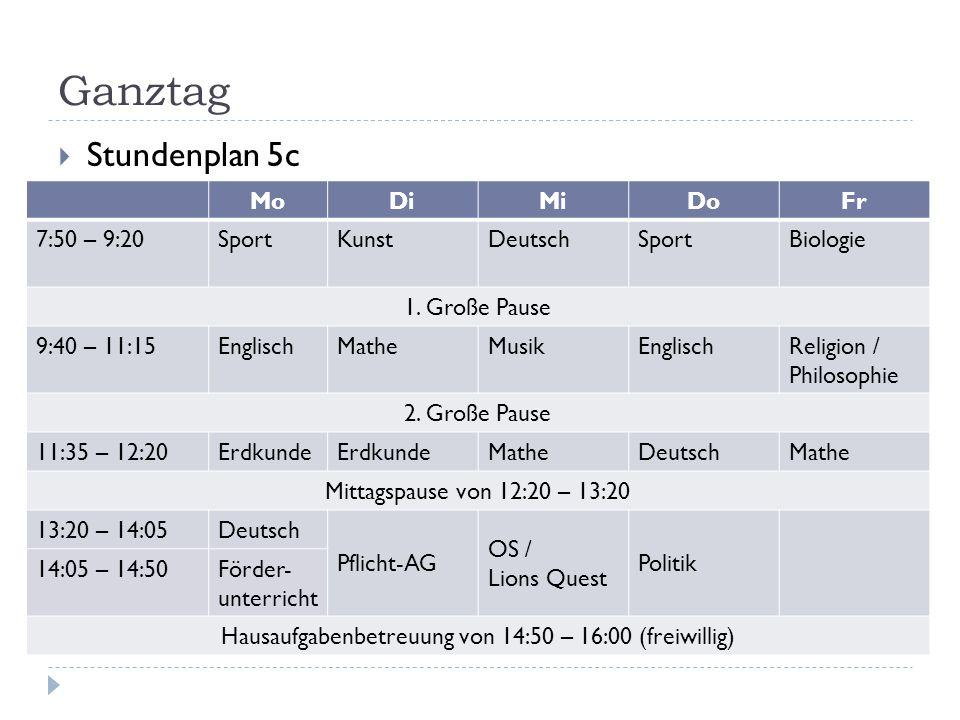 Hausaufgabenbetreuung von 14:50 – 16:00 (freiwillig)