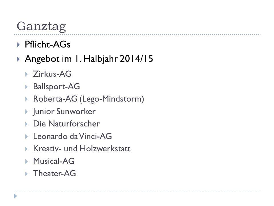 Ganztag Pflicht-AGs Angebot im 1. Halbjahr 2014/15 Zirkus-AG
