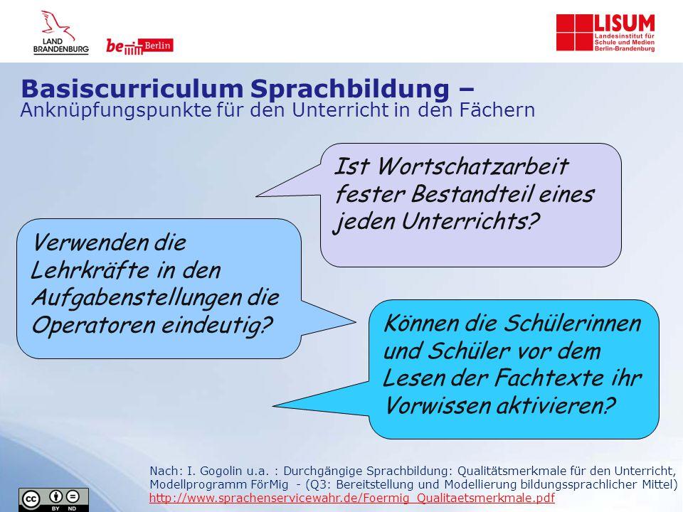 Basiscurriculum Sprachbildung – Anknüpfungspunkte für den Unterricht in den Fächern