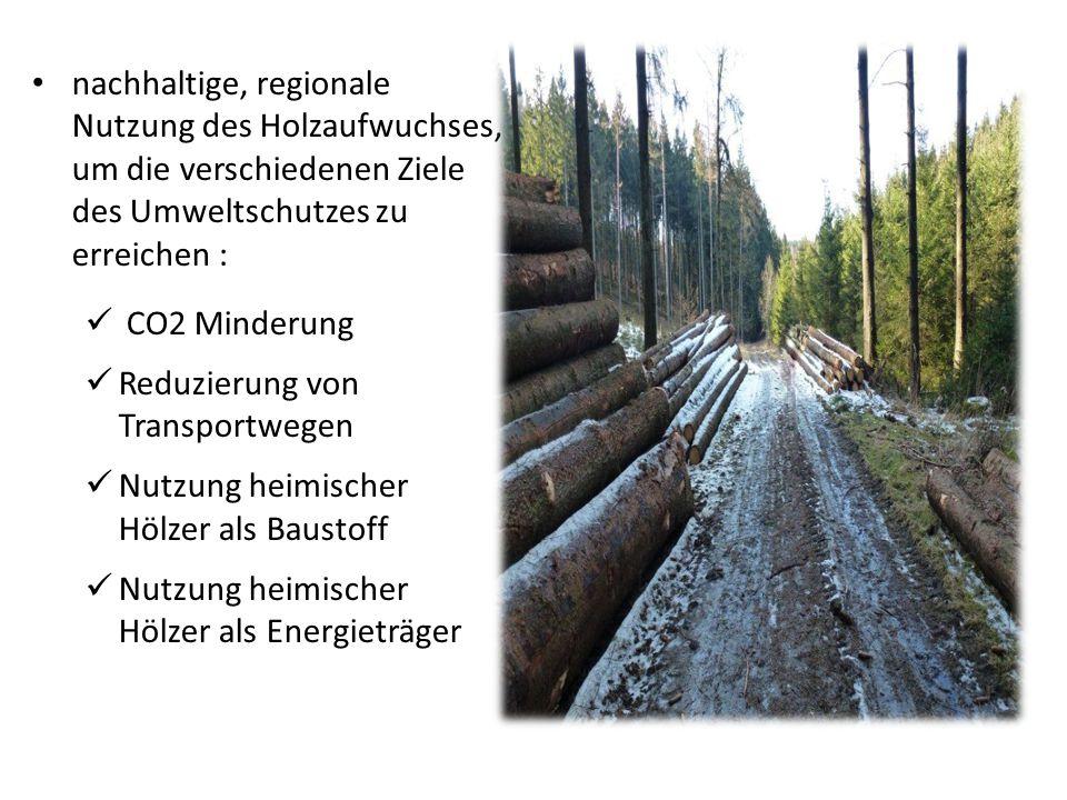 nachhaltige, regionale Nutzung des Holzaufwuchses, um die verschiedenen Ziele des Umweltschutzes zu erreichen :