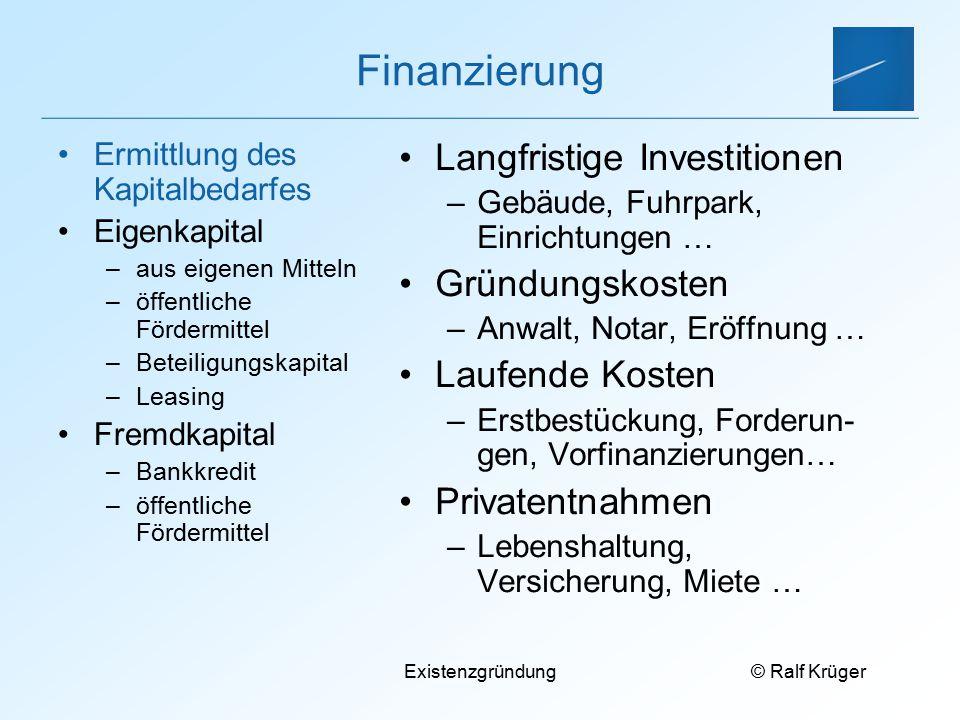 Finanzierung Langfristige Investitionen Gründungskosten