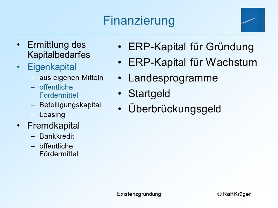 Finanzierung ERP-Kapital für Gründung ERP-Kapital für Wachstum